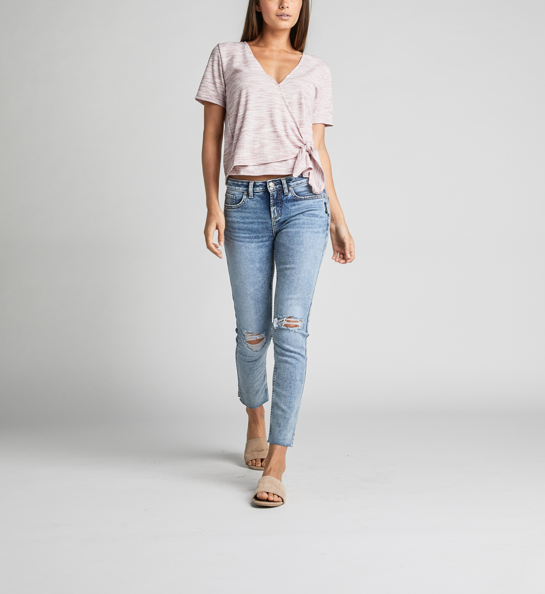 Adrea Side-Tie Space-Dyed Wrap Tee,Dark Rose Back