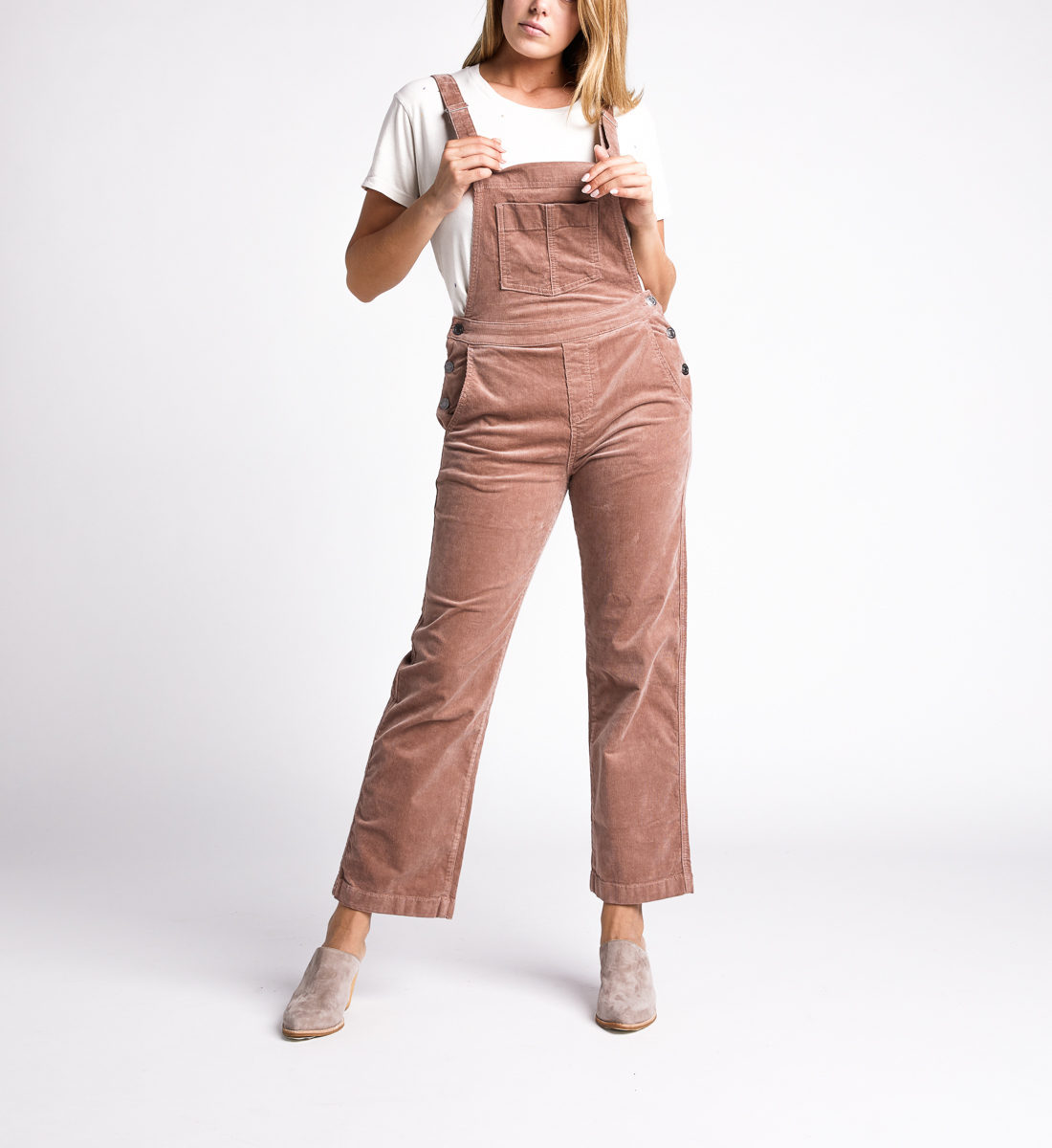 Overall Straight Leg Pants,Blush Alt Image 1