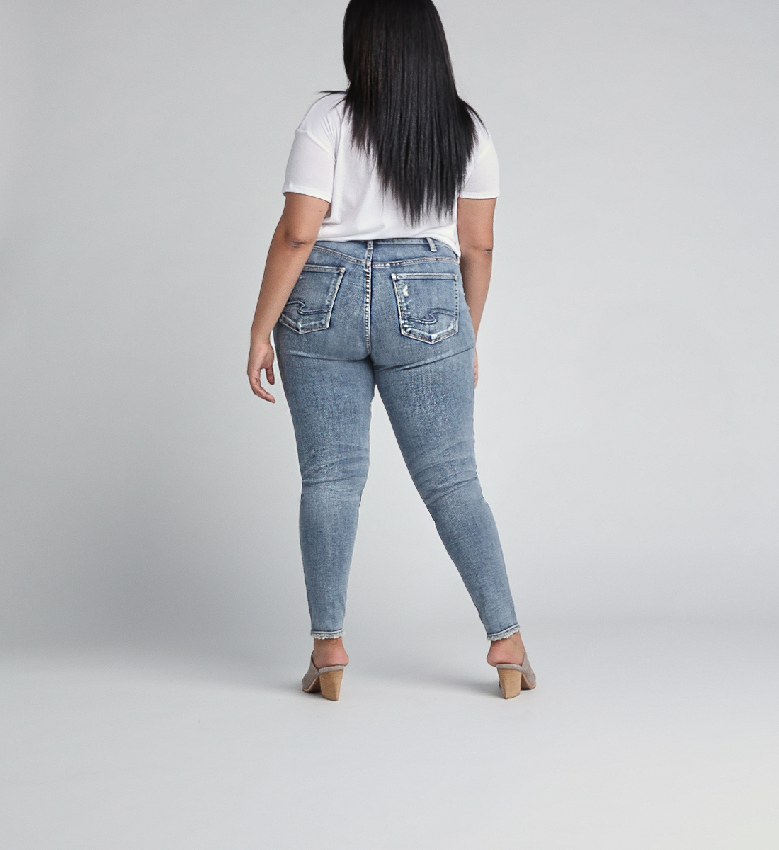 Avery High Rise Skinny Leg Jeans Plus Size - Silver Jeans US