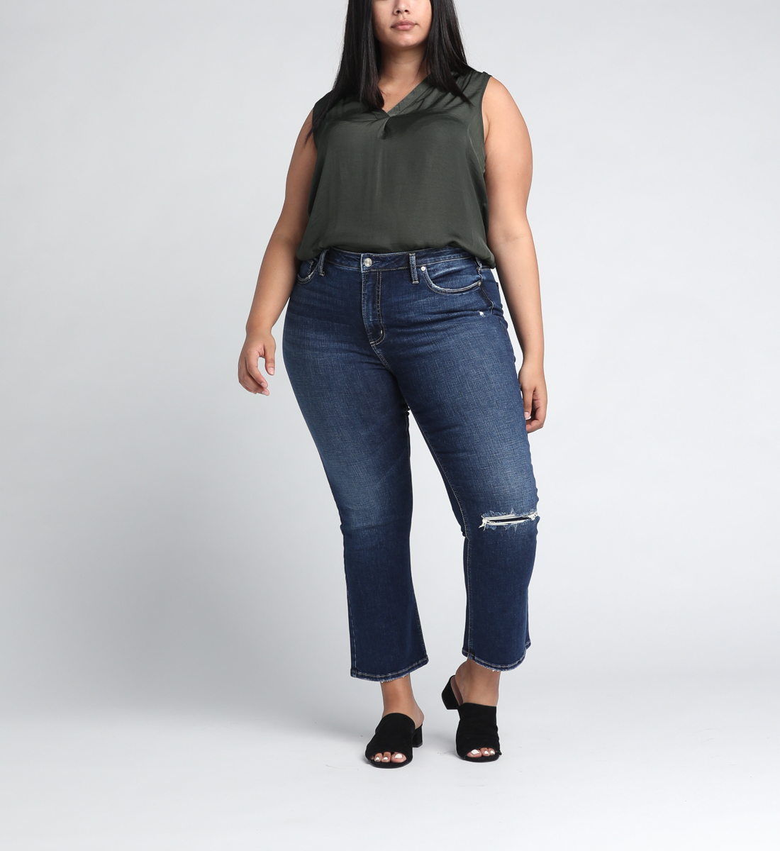 High Note High Rise Boot Crop Jeans Plus Size Front