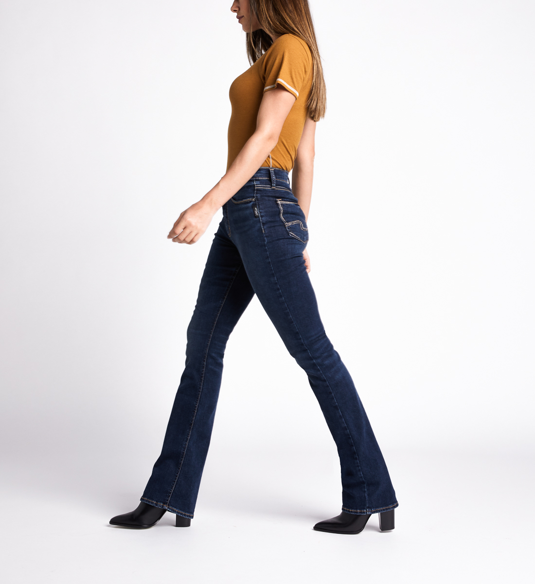 Calley High Rise Slim Bootcut Jeans,Indigo Side