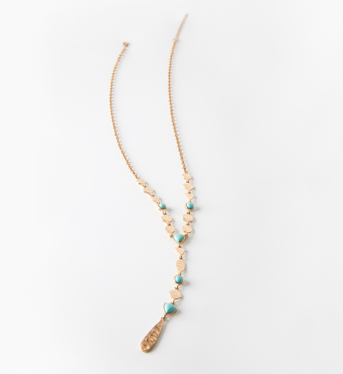 Gold-Tone Turquoise Y Necklace, , hi-res