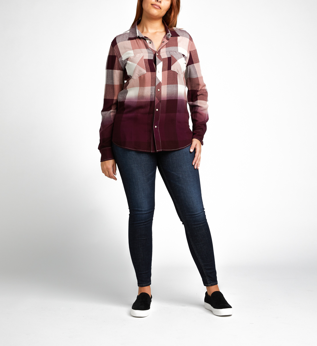 Vivian Long-Sleeve Plaid Shirt, Sangria, hi-res
