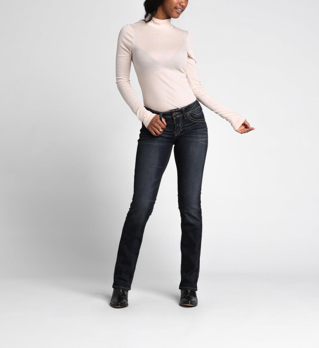 Suki Curvy Mid Rise Slim Bootcut Jeans Silver Jeans