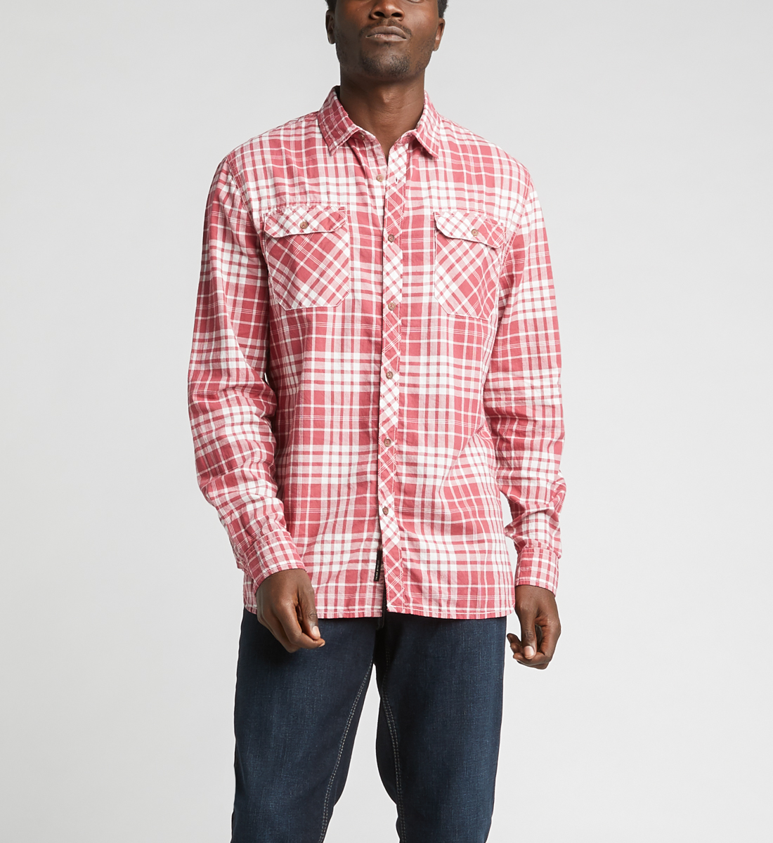Charly Long-Sleeve Plaid Button-Down Shirt,Red Front