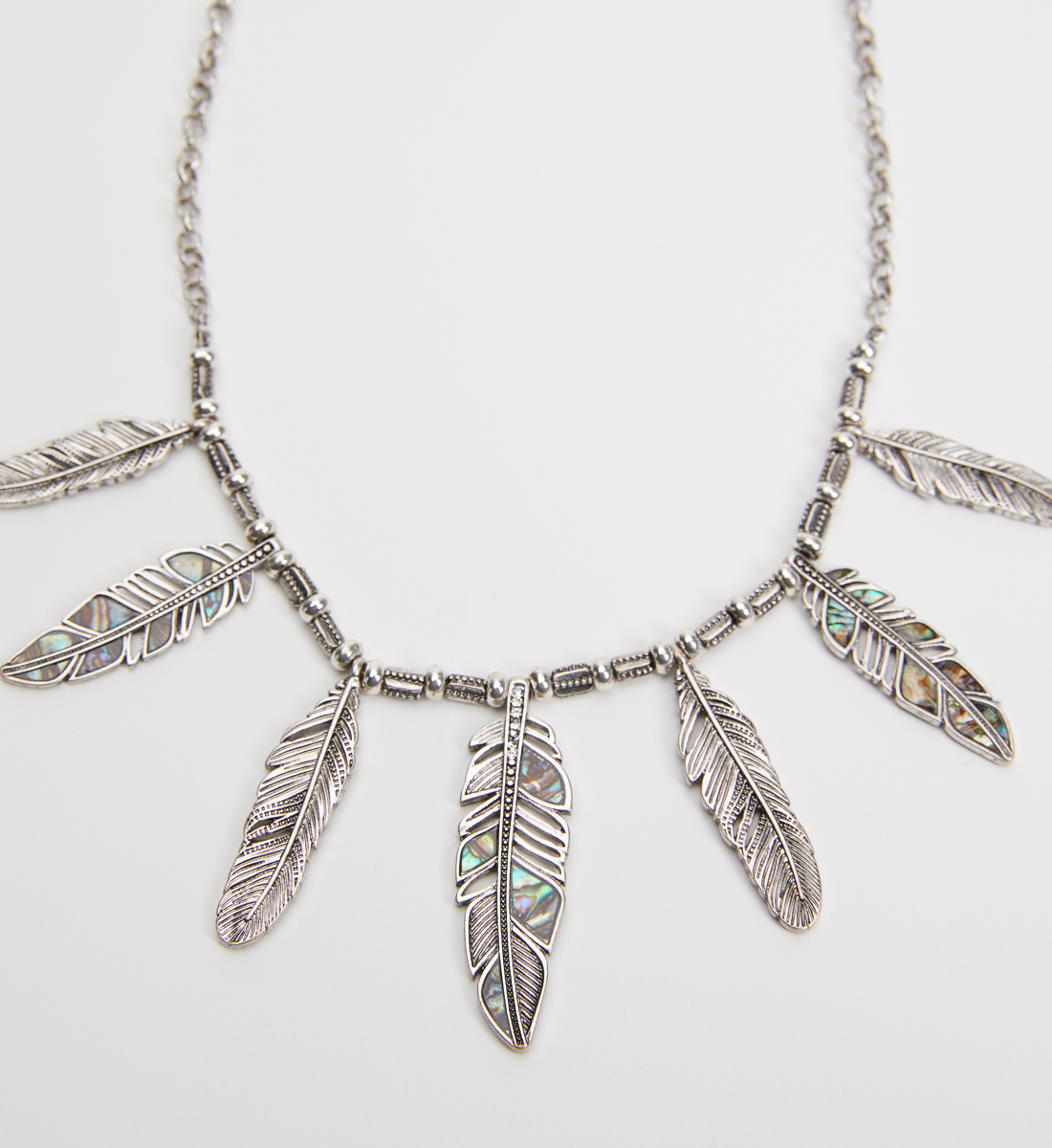 Silver-Tone Feather Statement Necklace, , hi-res