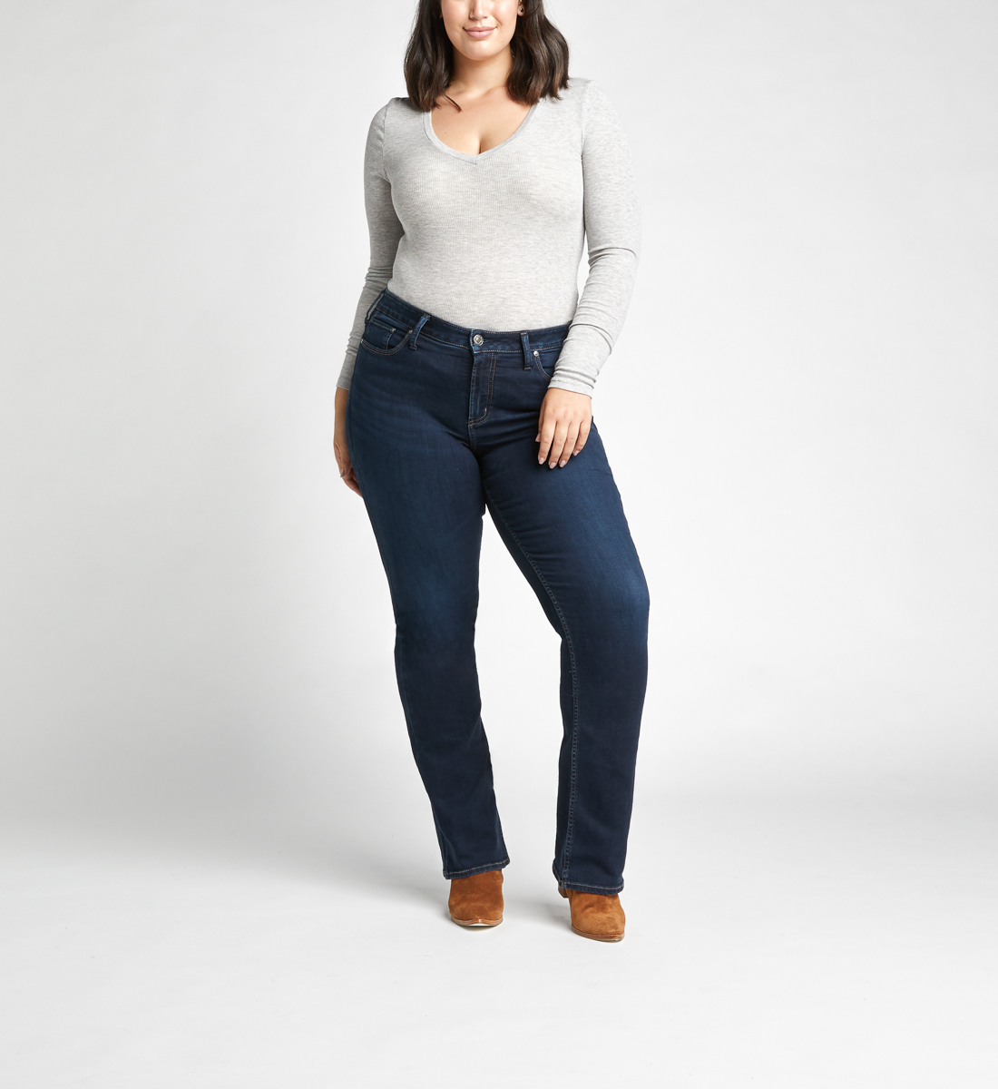 Avery High Rise Slim Bootcut Jeans Plus Size,Indigo Alt Image 1