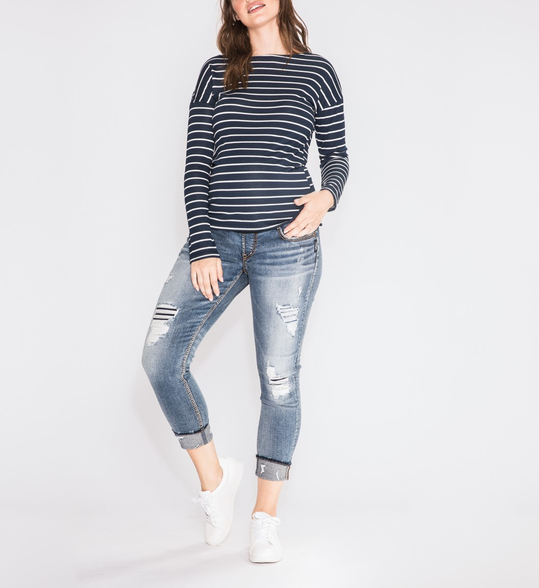 Girlfriend Skinny Leg Maternity Jeans Front