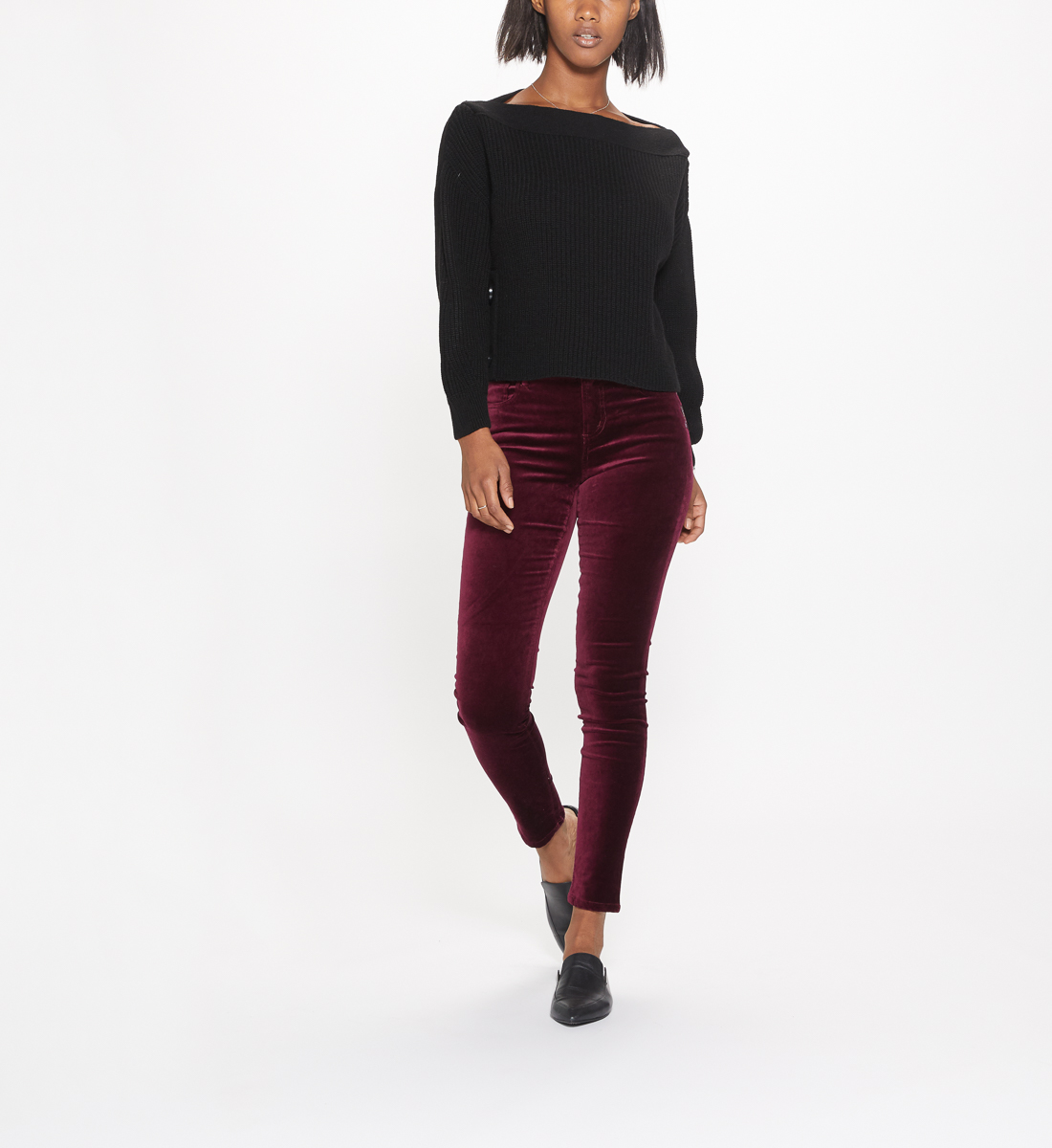 Aiko Mid Rise Skinny Leg Pants Final Sale,Cherry Front