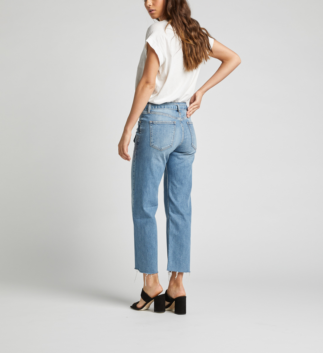 Tied and Wide High Rise Wide Leg Jeans, , hi-res