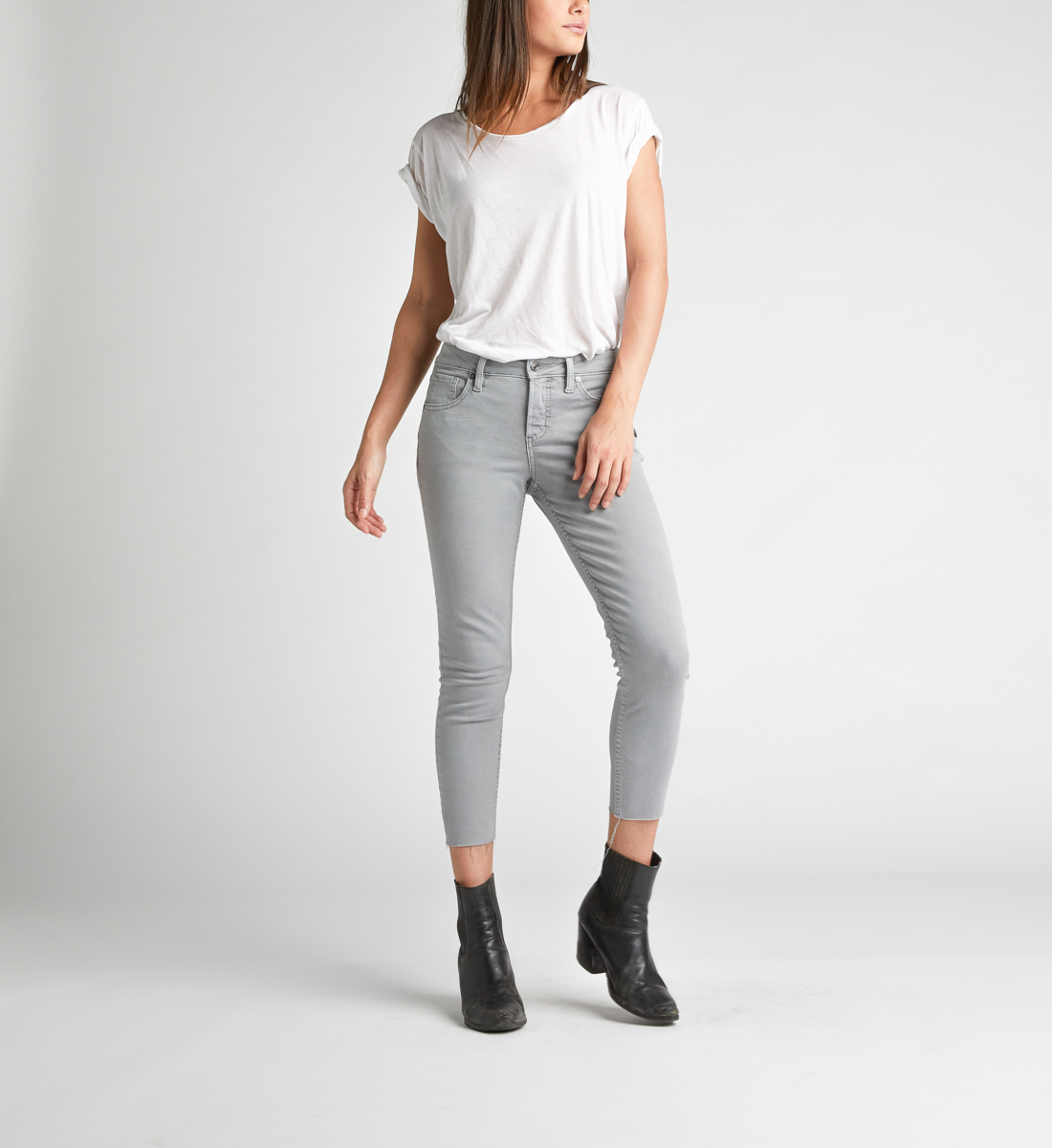 Avery High Rise Skinny Crop Pants,Grey Alt Image 1