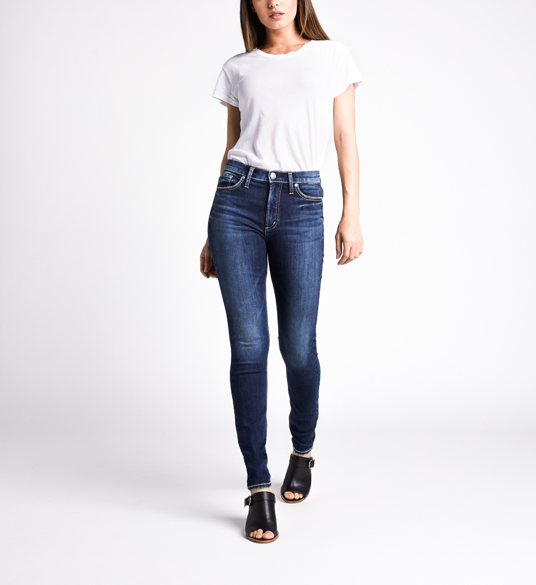 Calley High Rise Skinny Leg Jeans,Indigo Front