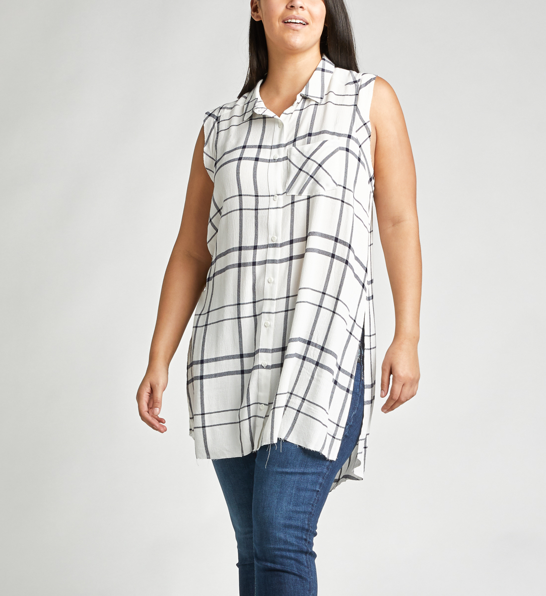 274d343336 Summer Plaid Frayed Button-Down Tunic - Silver Jeans CA