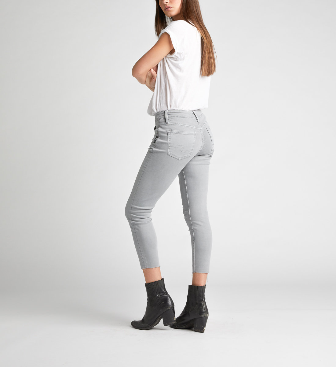 Avery High Rise Skinny Crop Pants,Grey Back