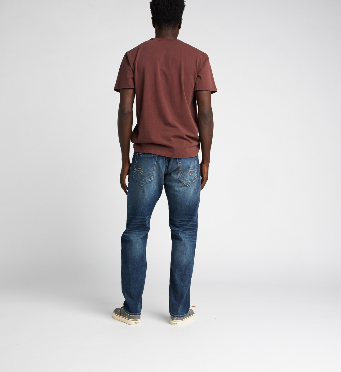 Eddie Relaxed Fit Tapered Leg Jeans,Indigo Back