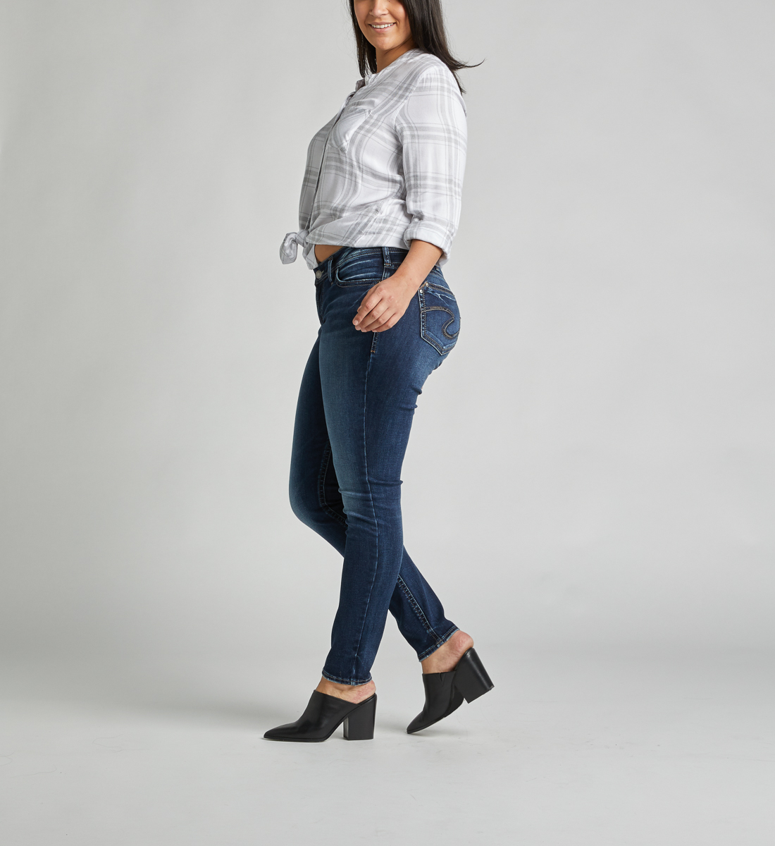 Suki Mid Rise Super Skinny Jeans Plus Size Side