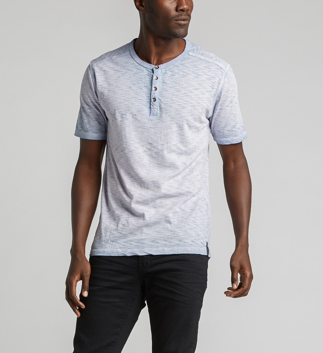 Kane Henley Tee,Light Blue Front
