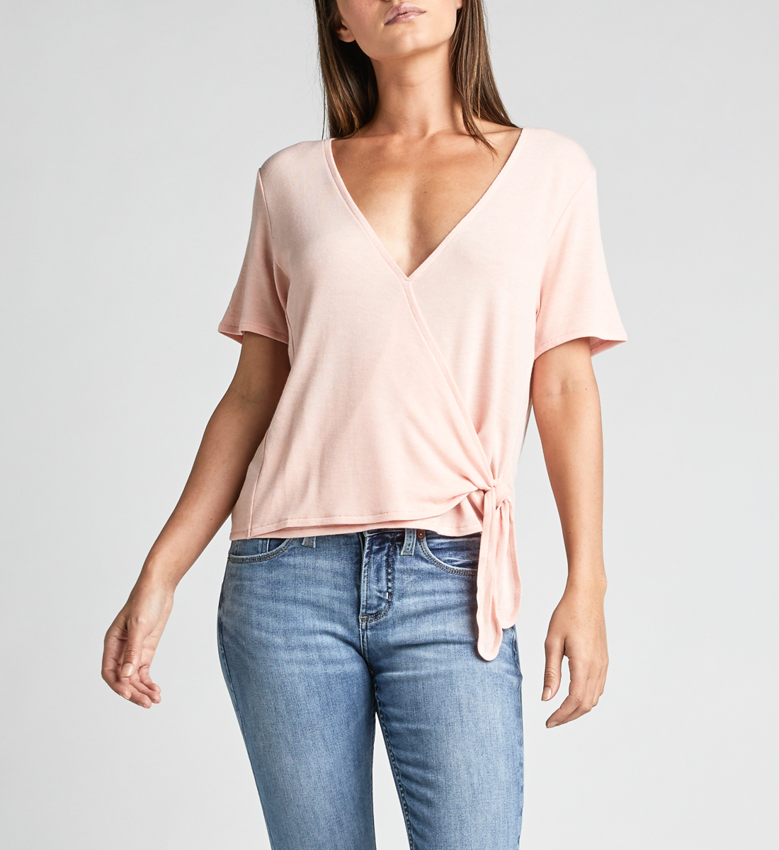 Adriel Side-Tie Wrap Tee,Light Rose Front