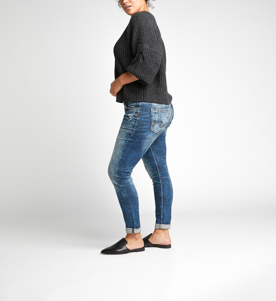 Girlfriend Mid Rise Skinny Leg Jeans Plus Size Side