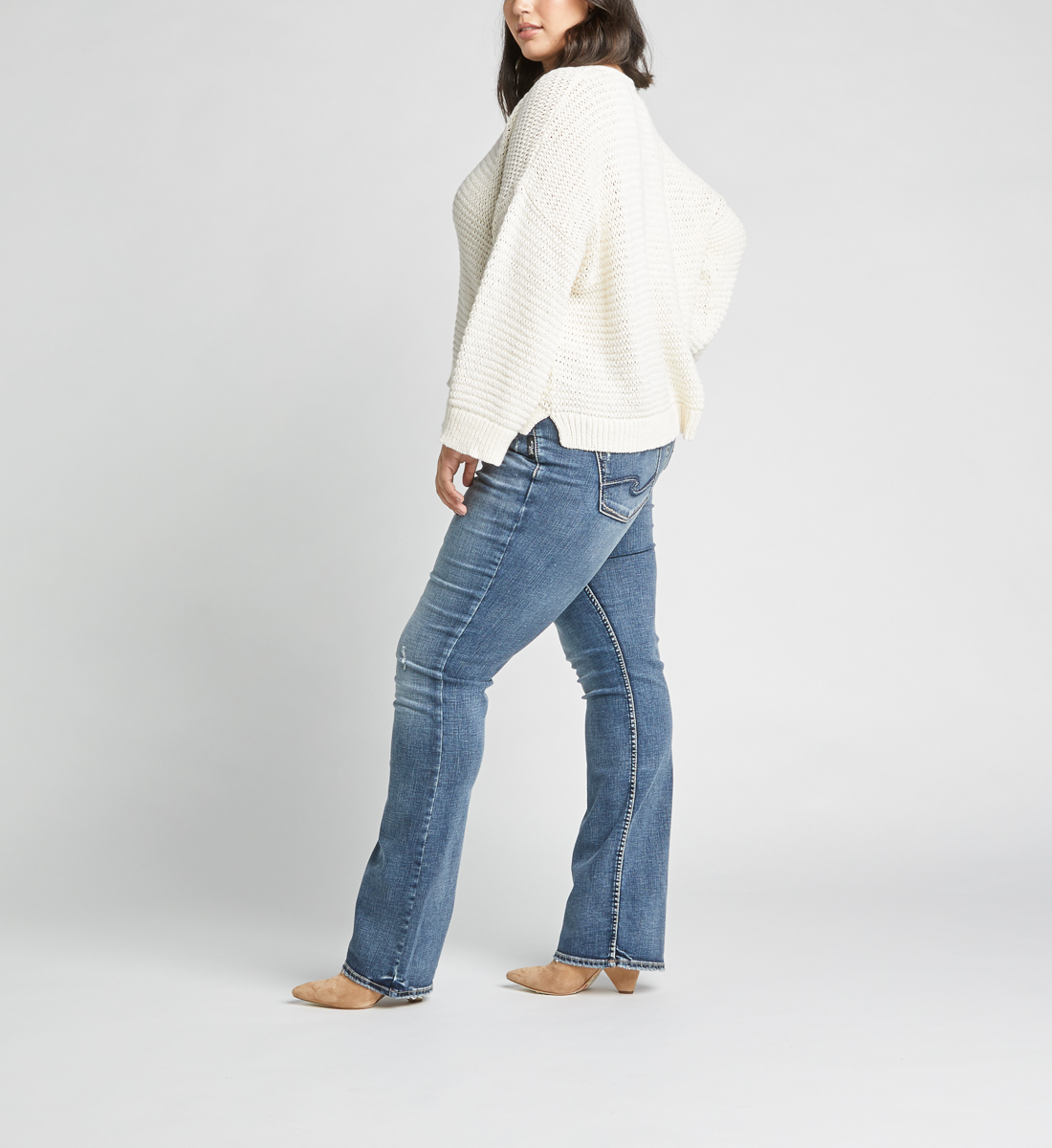 Elyse Mid Rise Slim Bootcut Plus Size Jeans Side