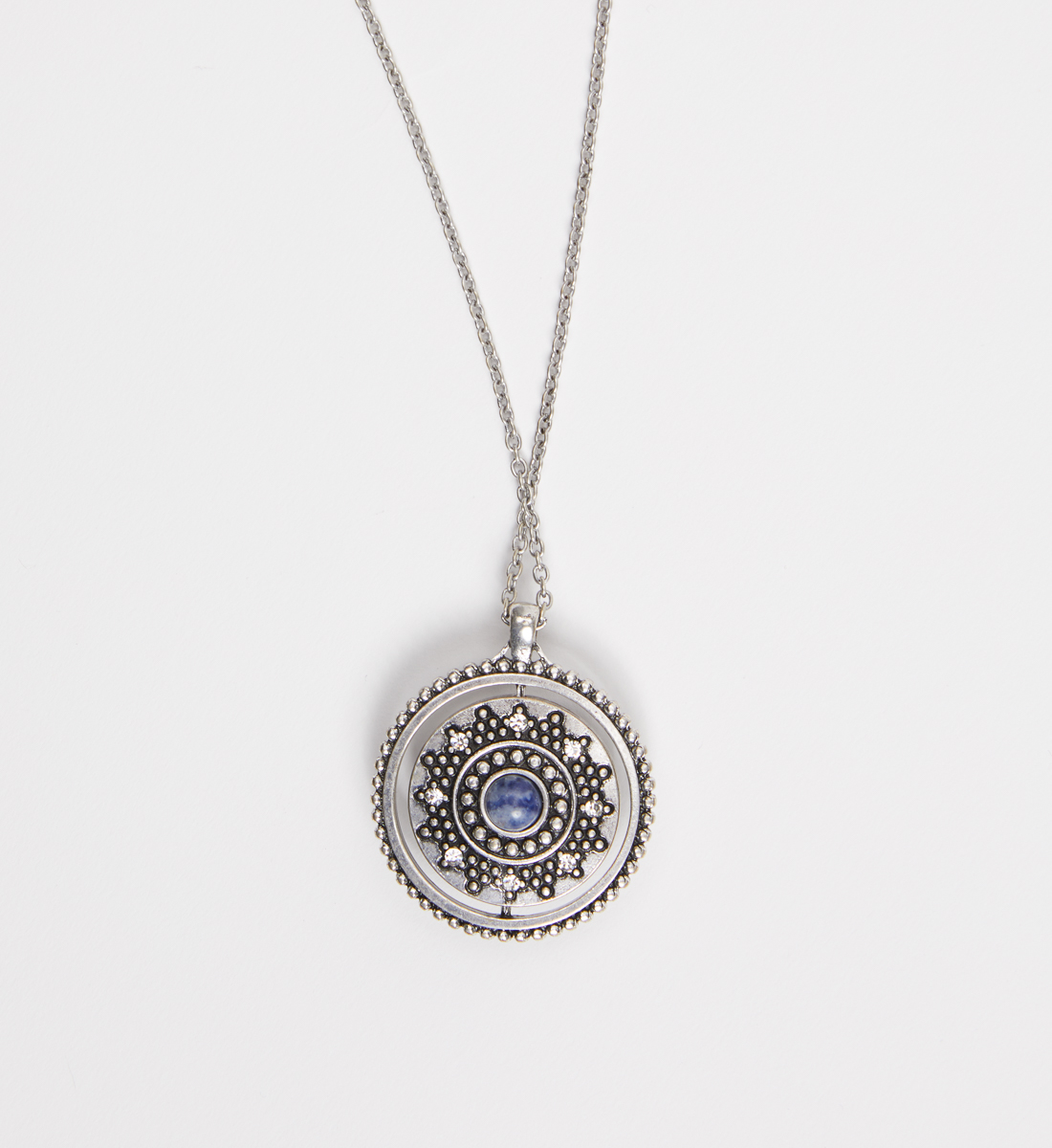 Silver-Tone and Blue Spinner Pendant Necklace, Blue, hi-res