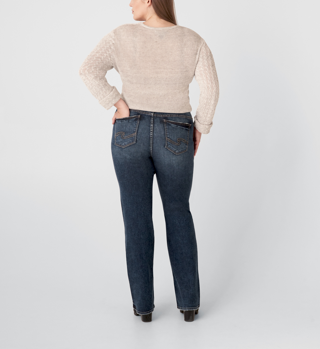 Elyse Mid Rise Slim Bootcut Jeans Plus Size Back