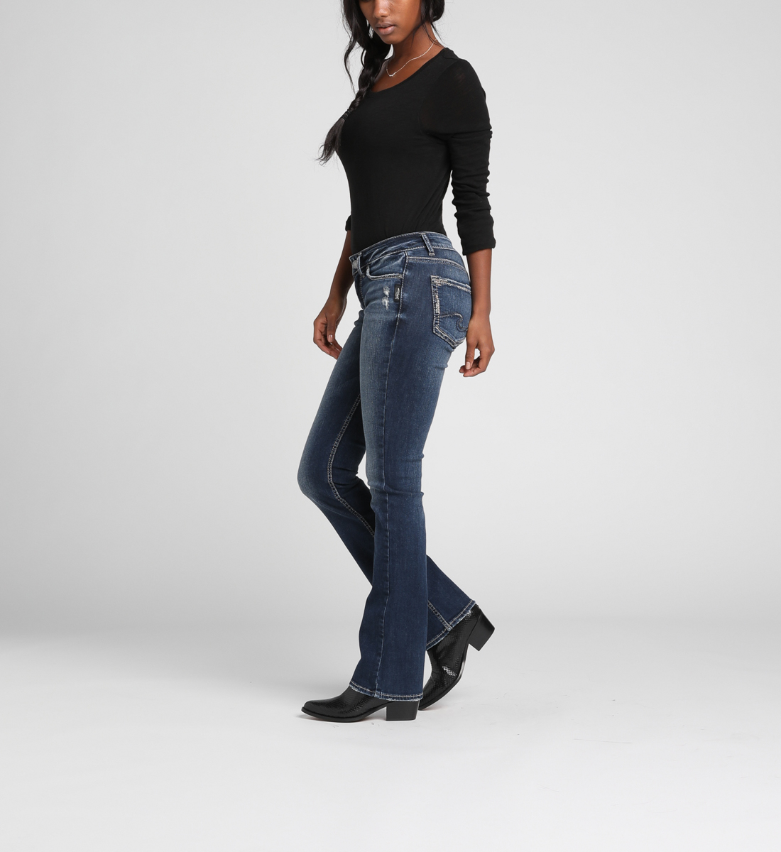 Suki Mid Rise Slim Bootcut Jeans Side