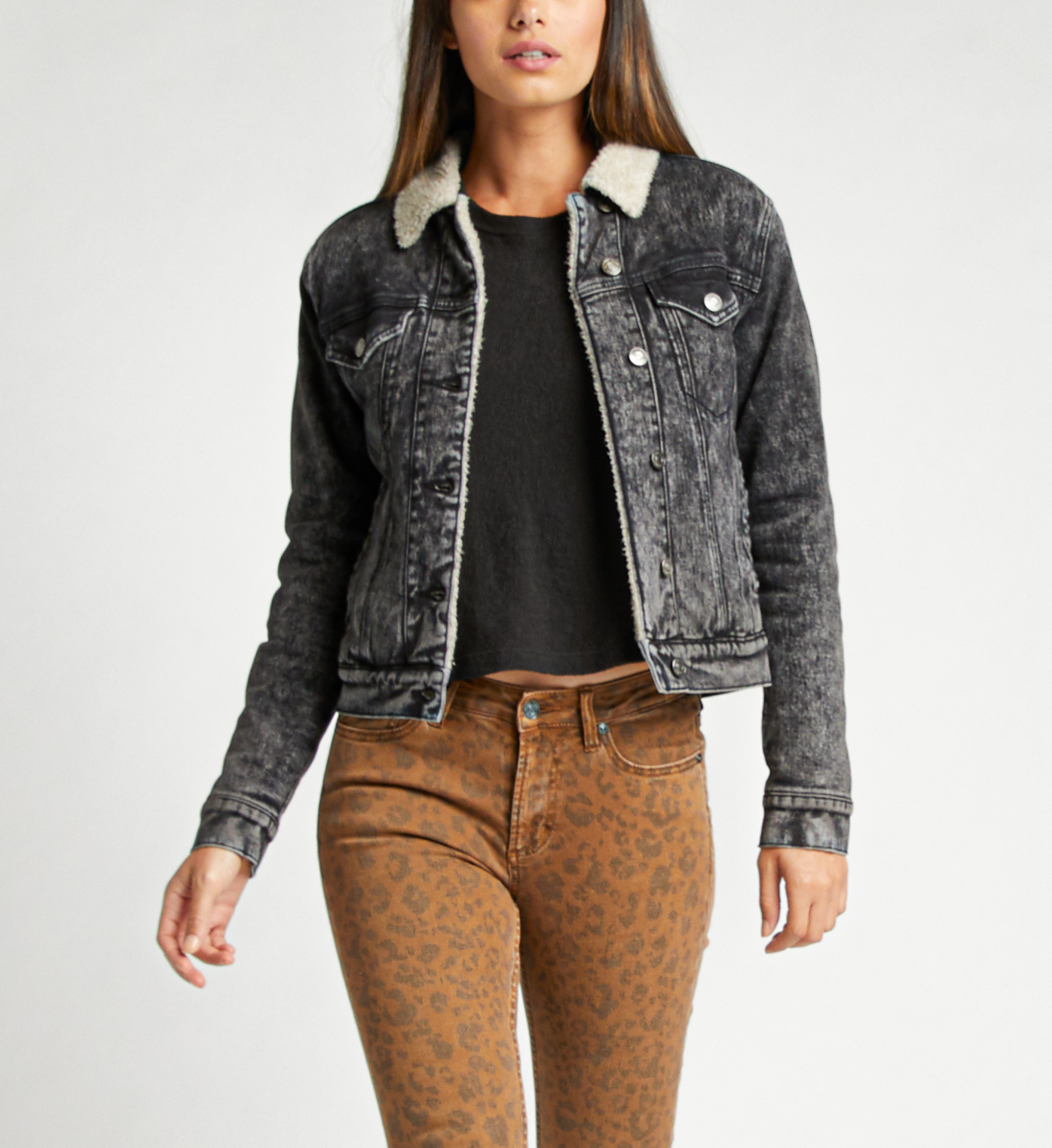 Selena Sherpa Denim Jacket In Black Front