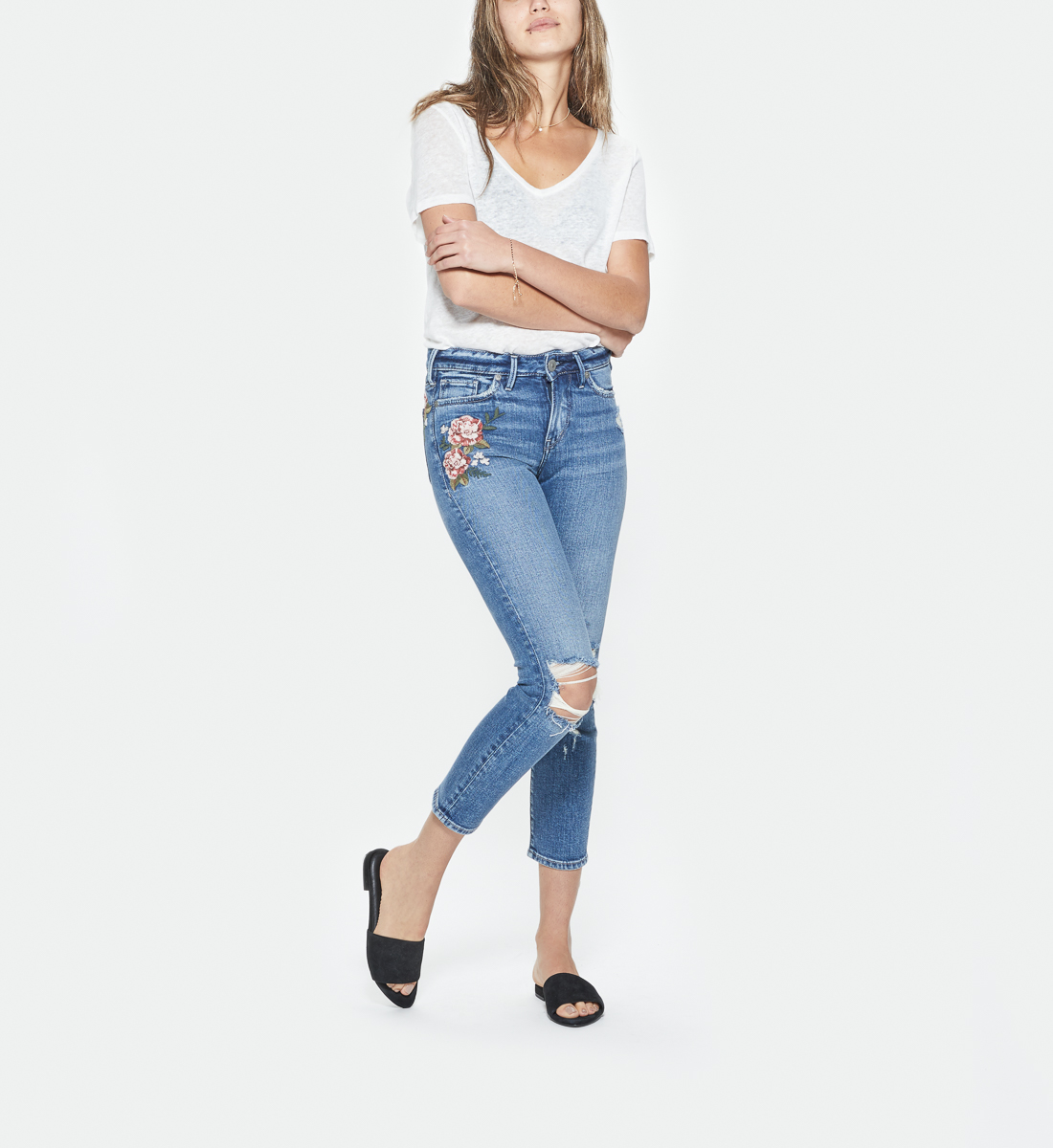 2613ecfd Mazy Embroidered Slim Crop, , hi-res. SKU # L44120SCP266. Silver Jeans