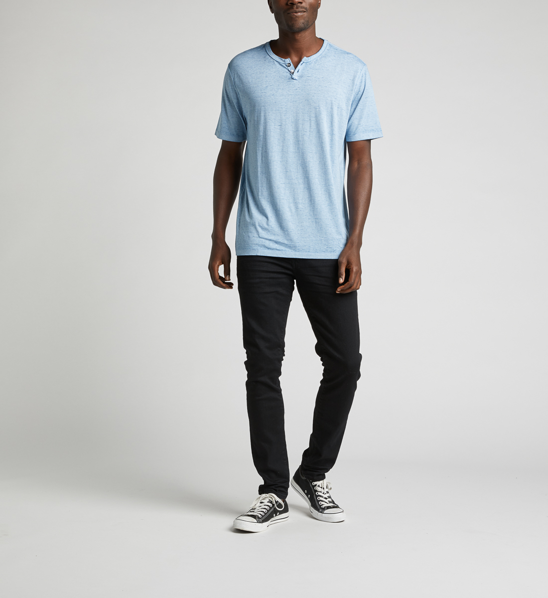 Kaleo Henley Tee,Light Blue Back