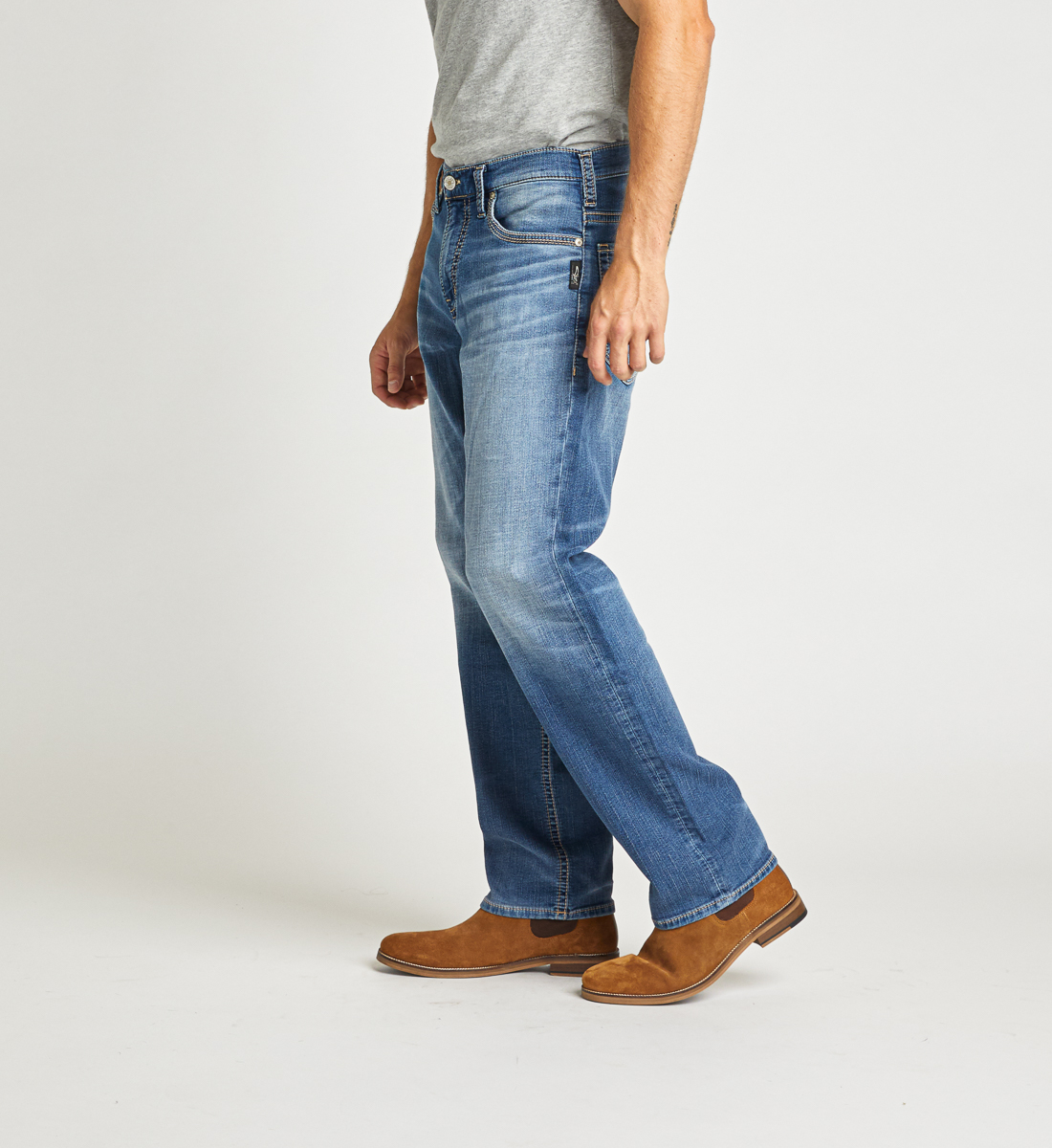 Hunter Athletic Fit Tapered Leg Jeans Side