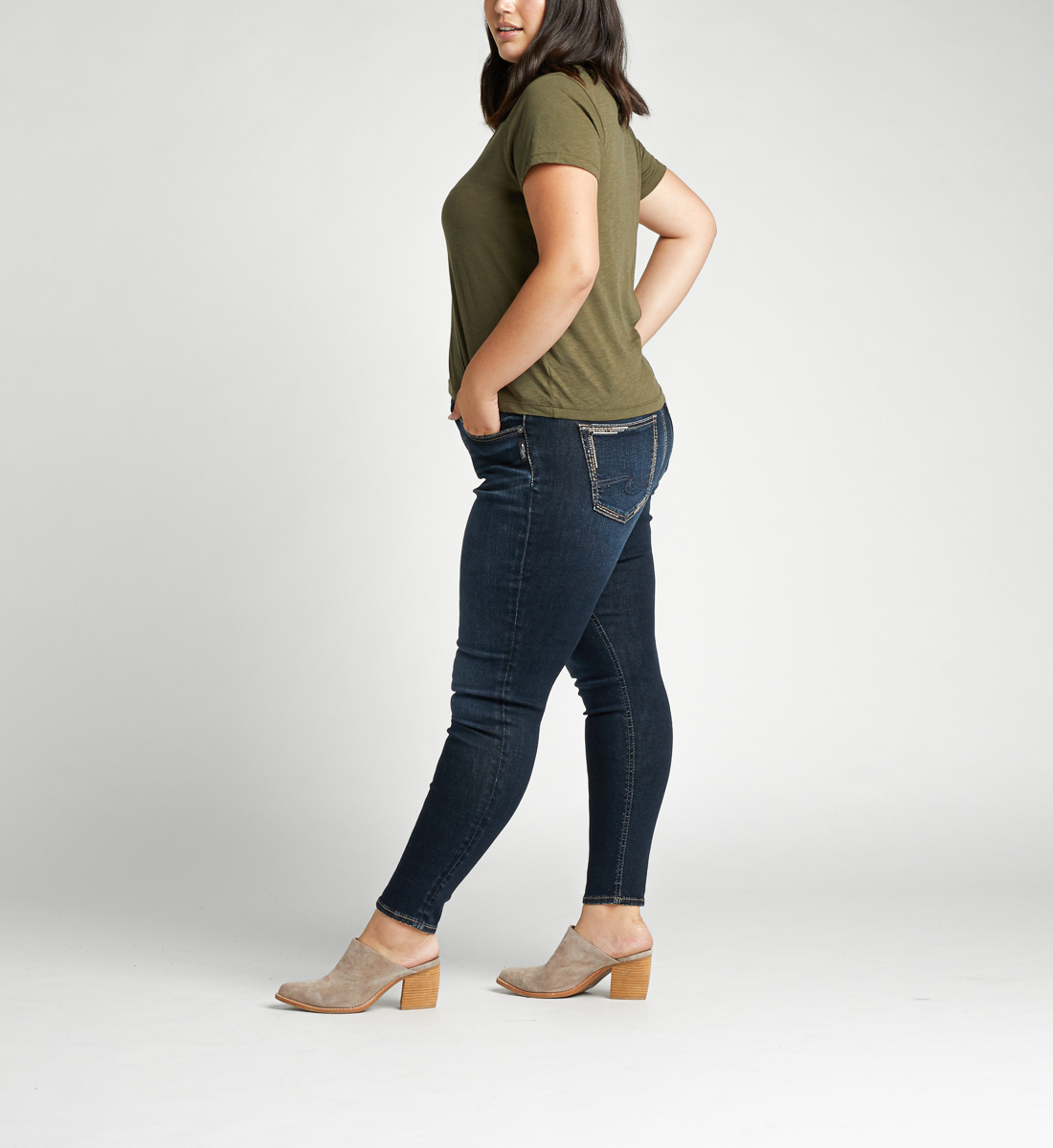 Avery High Rise Skinny Plus Size Jeans Side