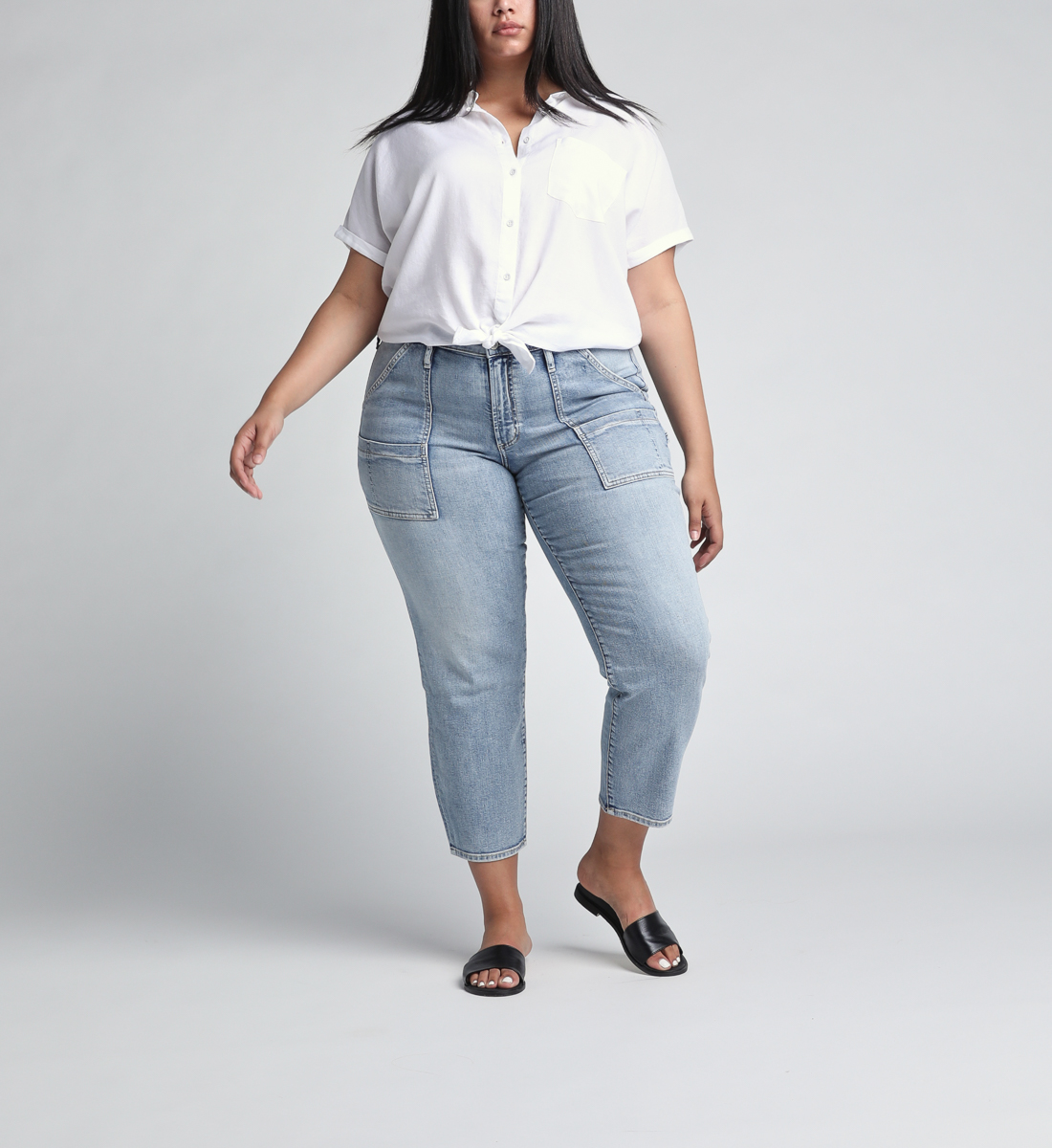 In The Loop Mid Rise Ankle Slim Leg Jeans Plus Size Front