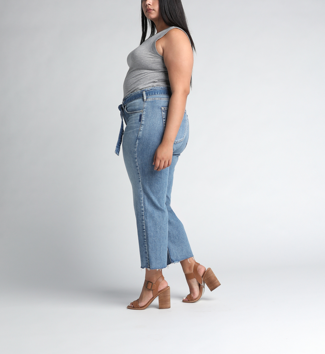 Tied and Wide High Rise Wide Leg Jeans Plus Size Side
