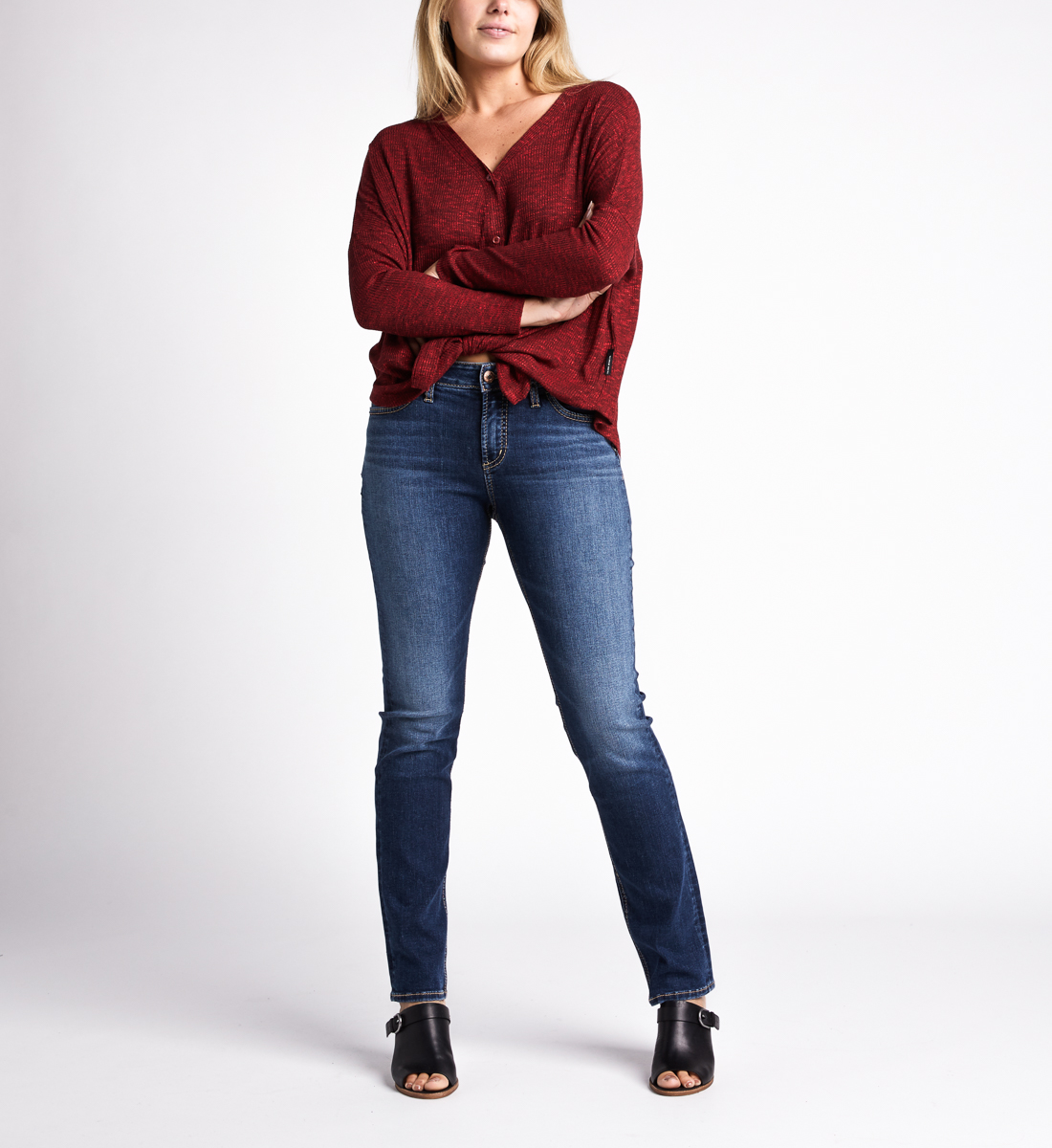 Amelia Button-Front Top,Burgandy Back