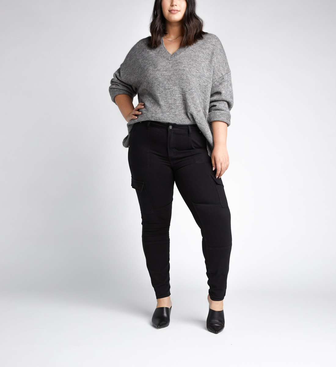 Cargo Mid Rise Skinny Leg Jeans Plus Size, , hi-res