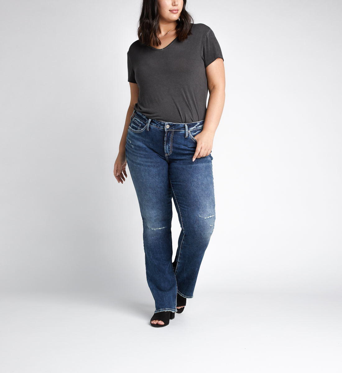 Elyse Mid Rise Bootcut Jeans Plus Size Front