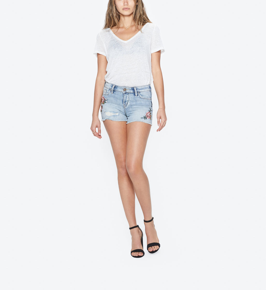 Womens Aiko Fit Mid Rise Shorts L53804SOP184 Silver Jeans Co