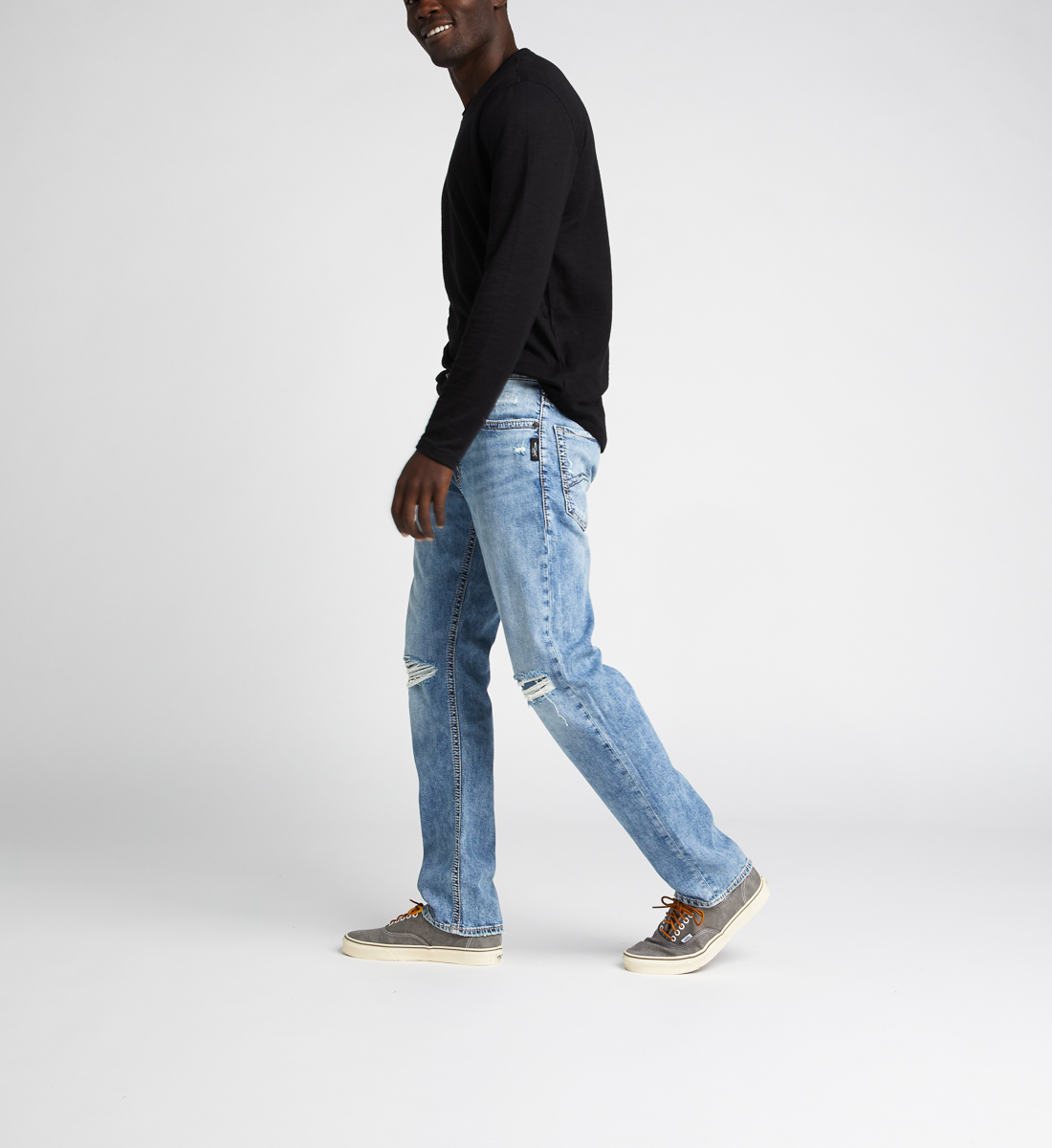 Eddie Relaxed Fit Tapered Leg Jeans,Indigo Side