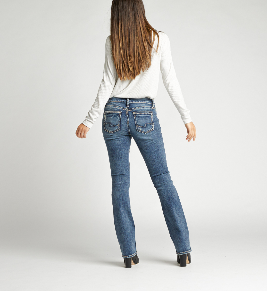 Elyse Mid Rise Slim Bootcut Jeans Back