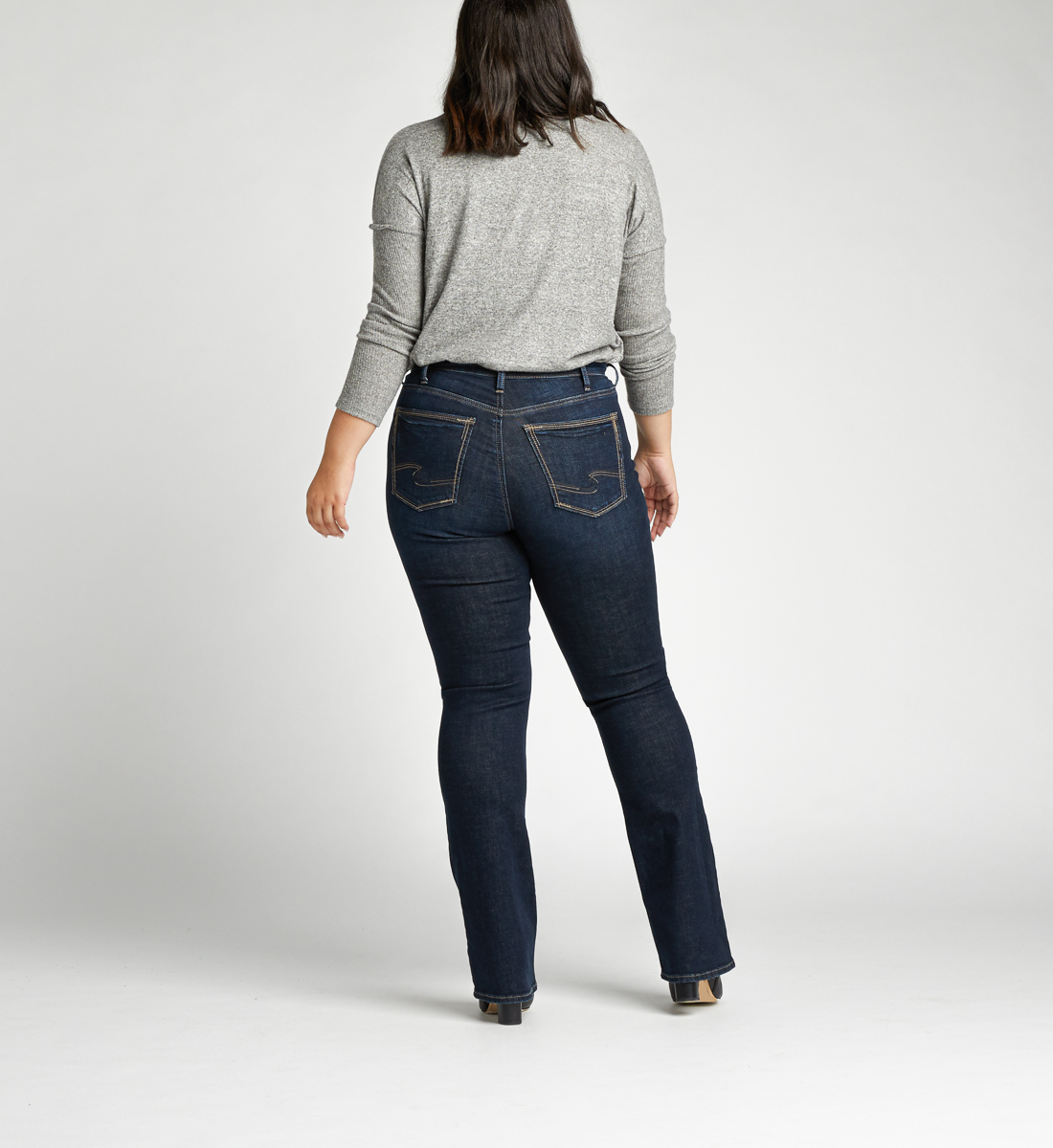 Calley Super High Rise Slim Bootcut Plus Size Jeans Back