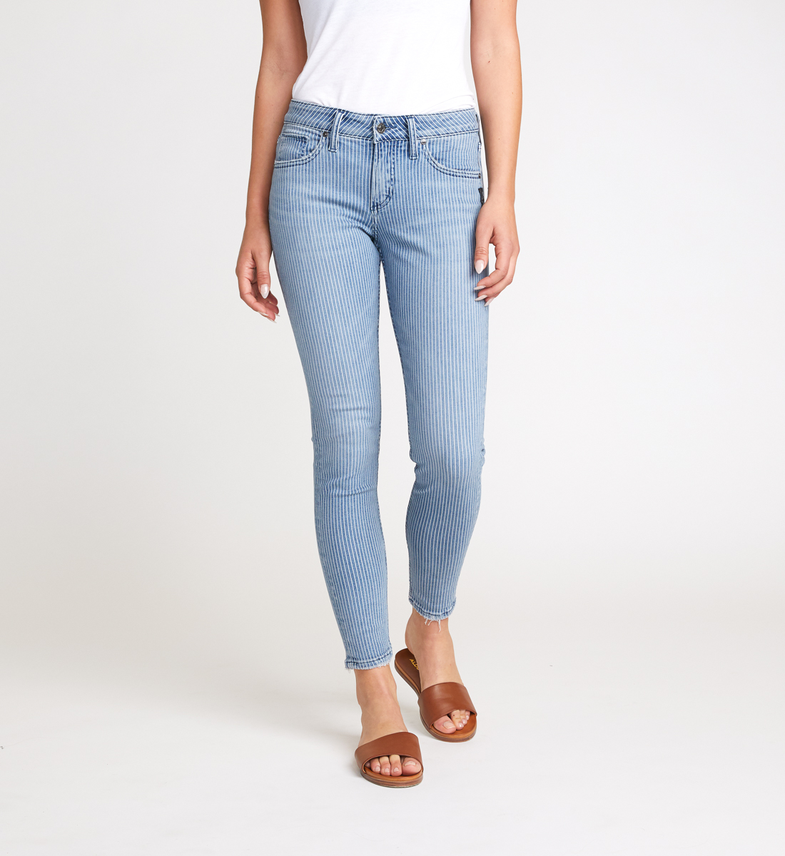 Avery High Rise Pinstripe Skinny Jeans Front