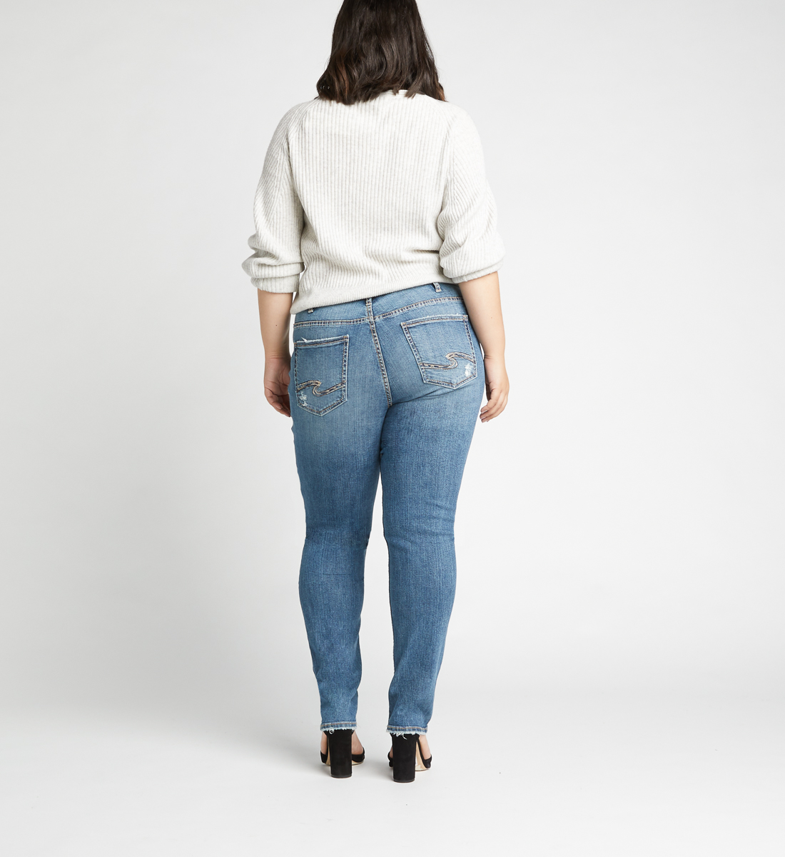 Avery High Rise Slim Leg Jeans Plus Size,Indigo Back