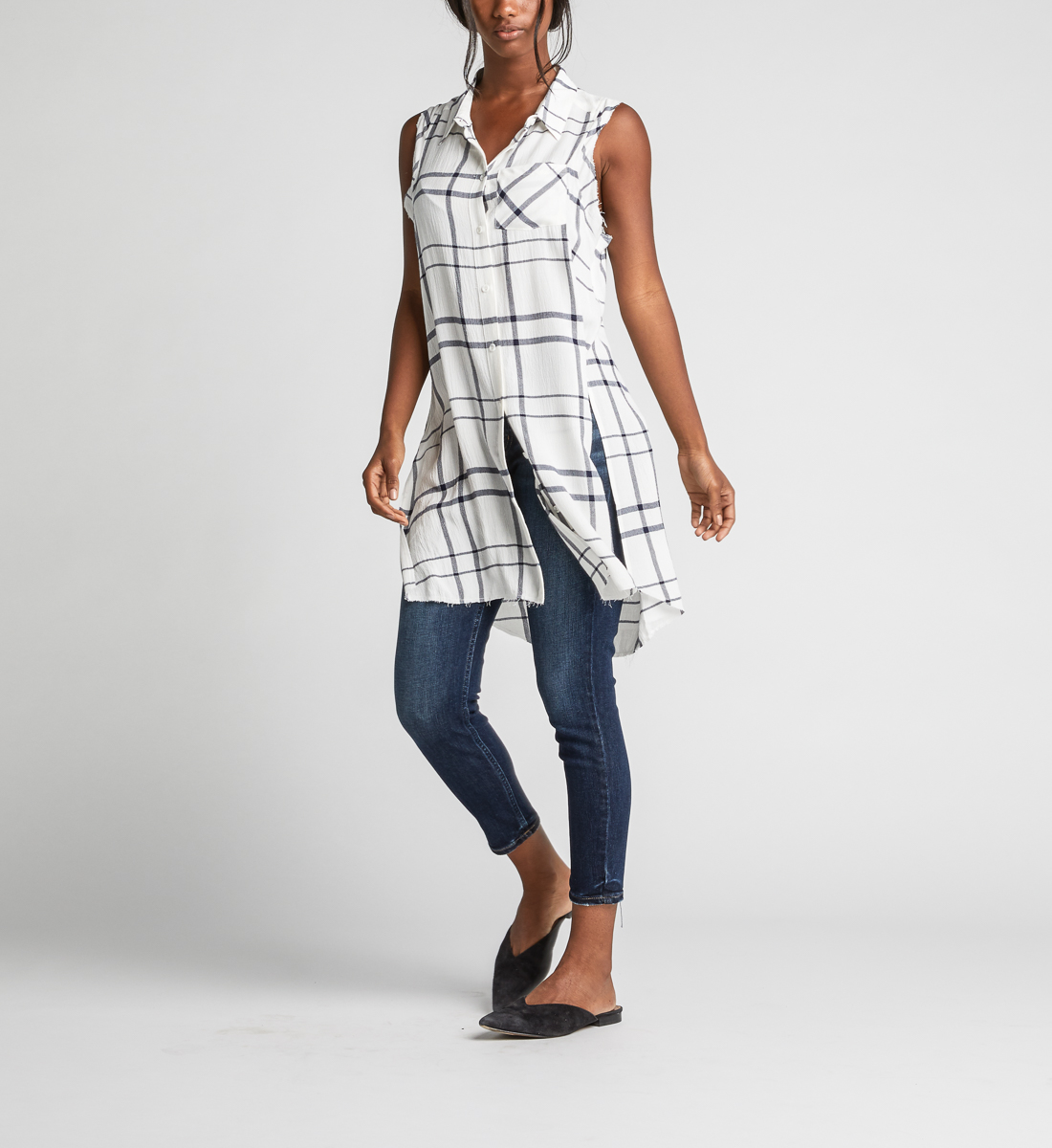 Summer Plaid Frayed Button-Down Tunic Back