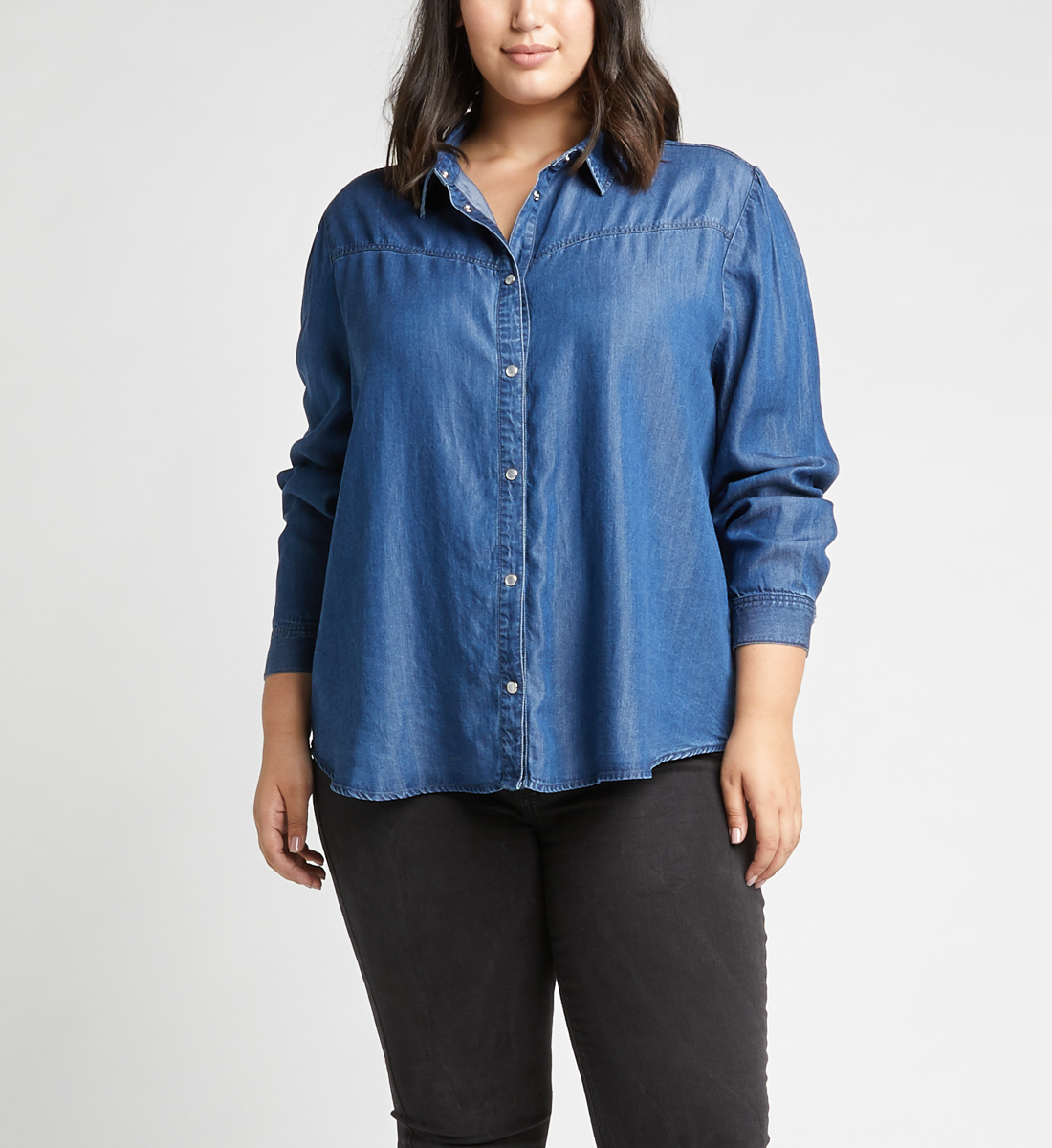 Saralyn Puff-Sleeve Denim Shirt,Indigo Front