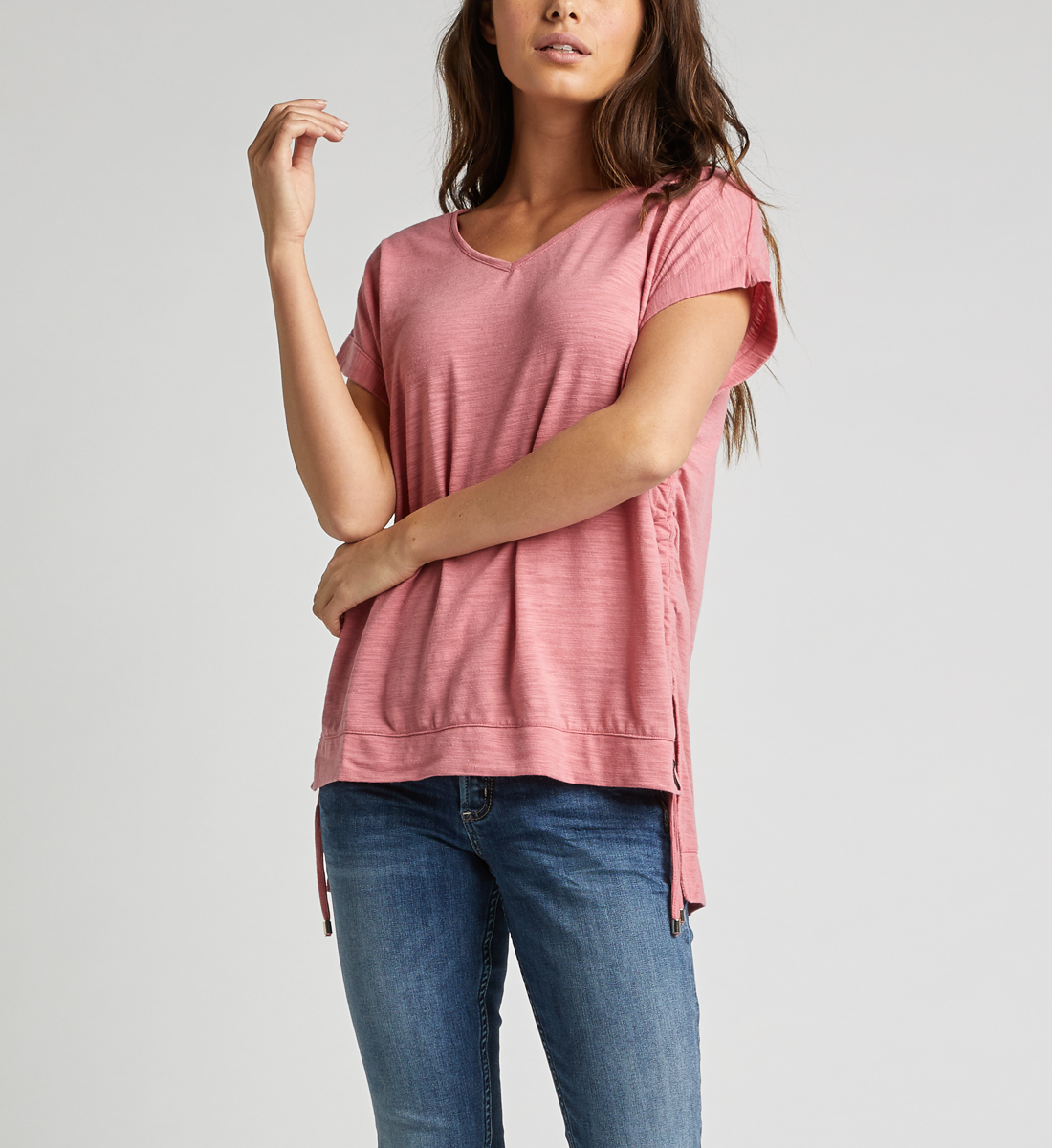 Agnes Side Tie Top,Rose Front