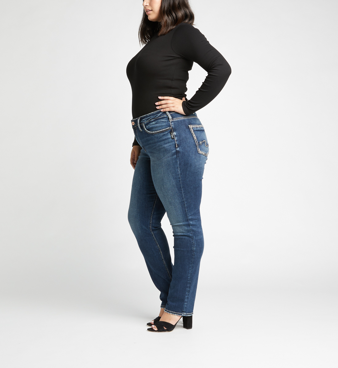 Avery High Rise Straight Leg Plus Size Jeans Side