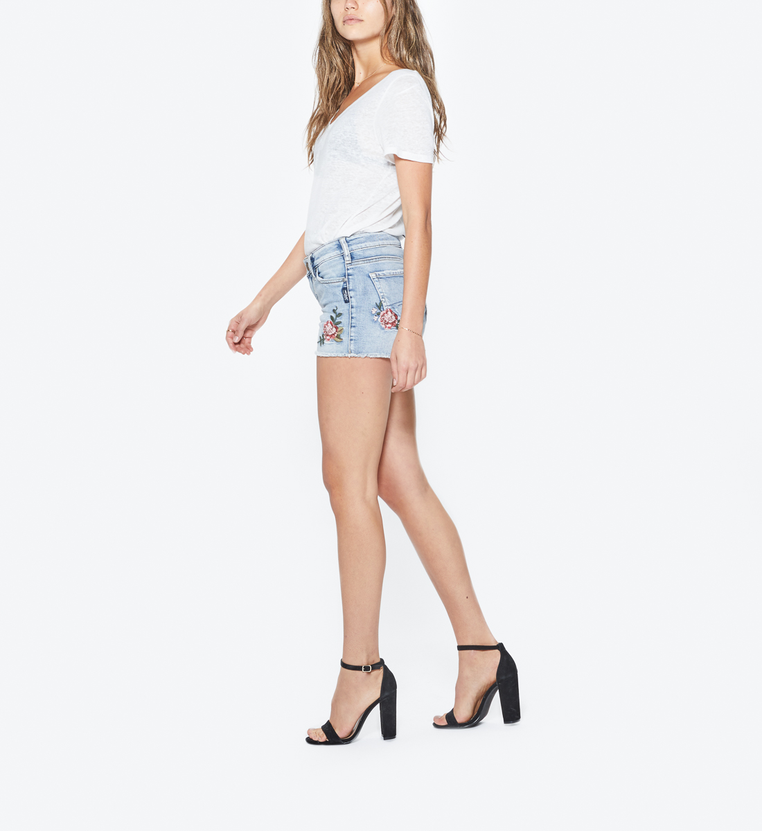 Aiko Light Wash Embroidered Short, , hi-res