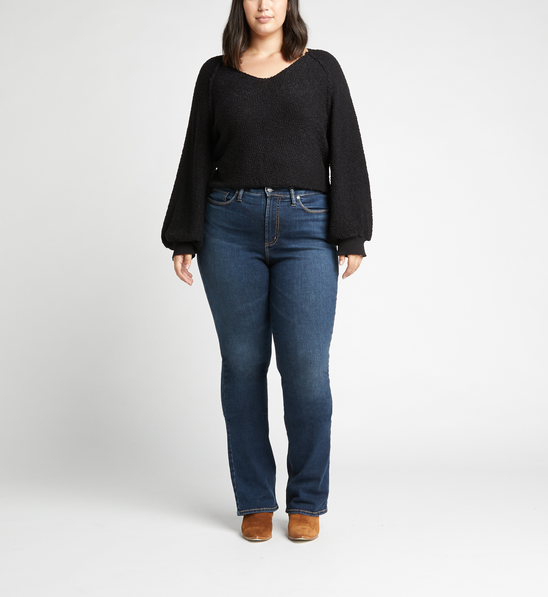 Calley High Rise Slim Bootcut Jeans Plus Size,Indigo Alt Image 1