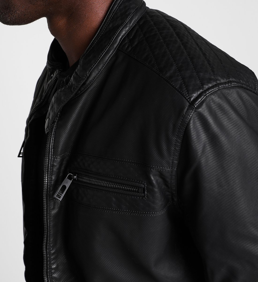 Samuel Perforated Faux-Leather Jacket, , hi-res